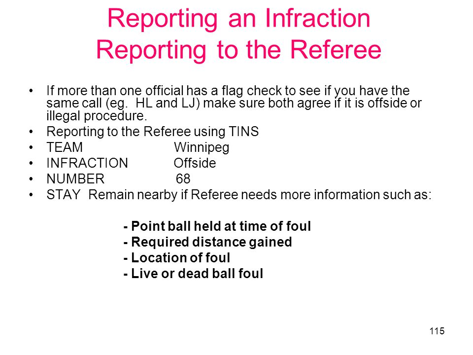 Reporting an Infraction Reporting to the Referee