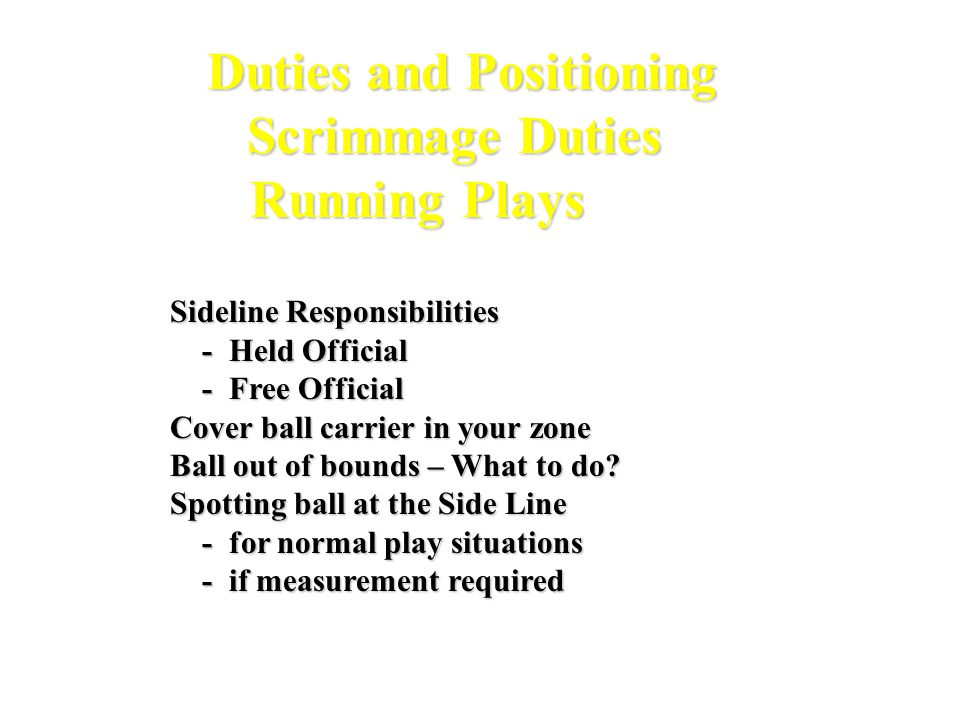 Duties and Positioning Scrimmage Duties Running Plays