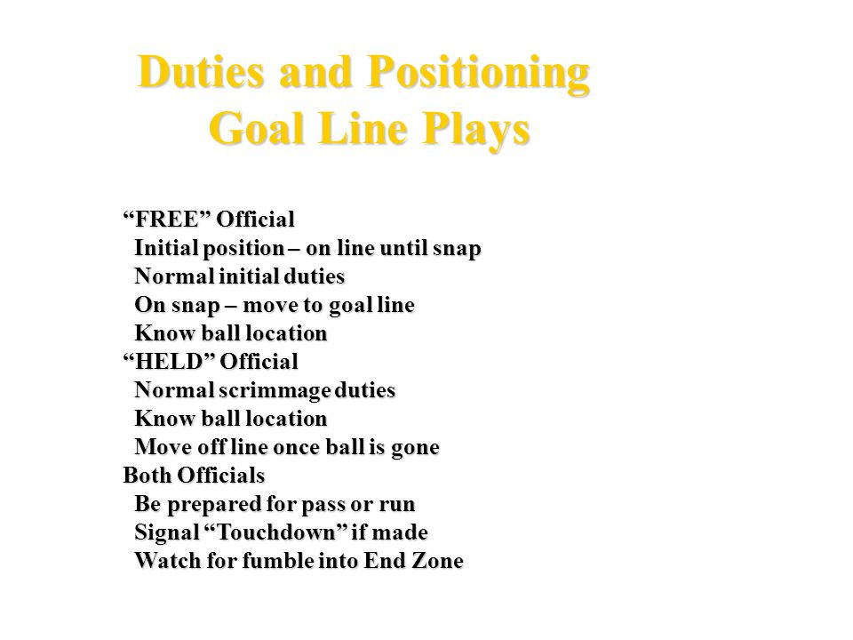 Duties and Positioning Goal Line Plays