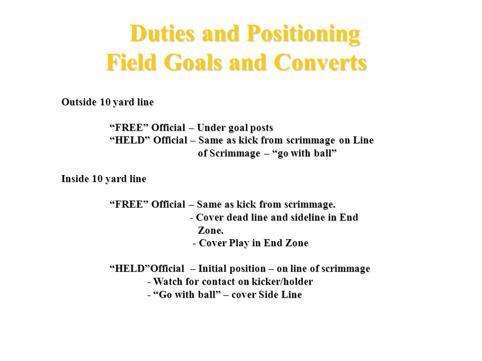 Duties and Positioning Field Goals and Converts