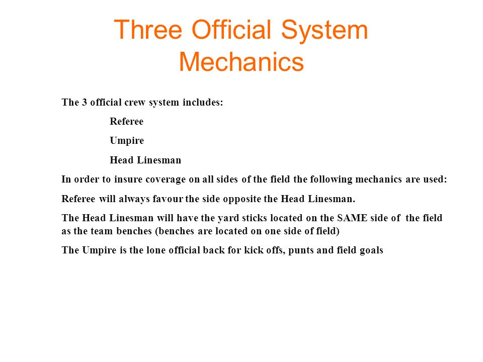 Three Official System Mechanics