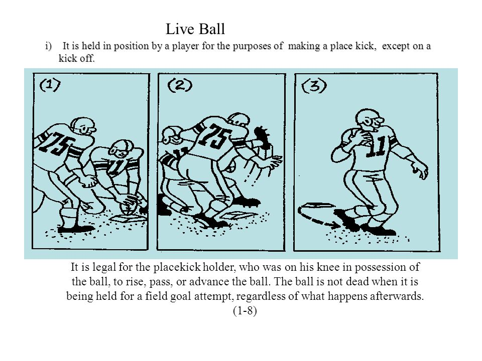 Live Ball It is held in position by a player for the purposes of making a place kick, except on a.