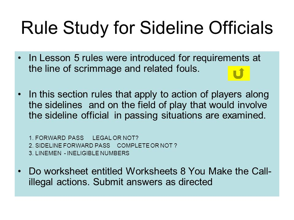 Rule Study for Sideline Officials