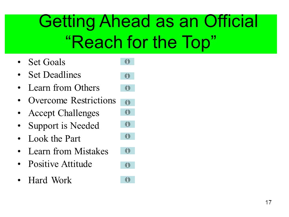Getting Ahead as an Official Reach for the Top