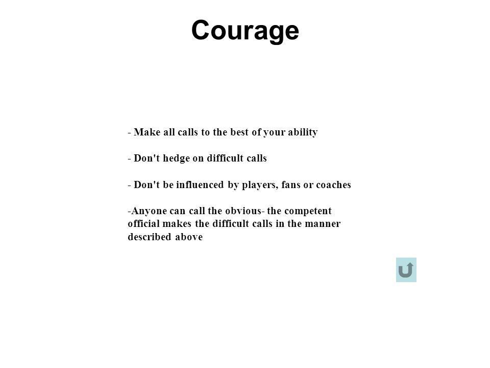 Courage - Make all calls to the best of your ability