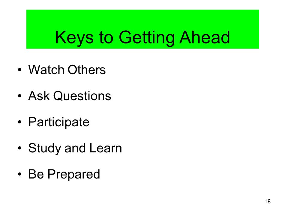 Keys to Getting Ahead Watch Others Ask Questions Participate