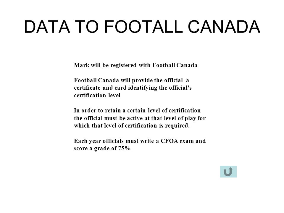 DATA TO FOOTALL CANADA Mark will be registered with Football Canada
