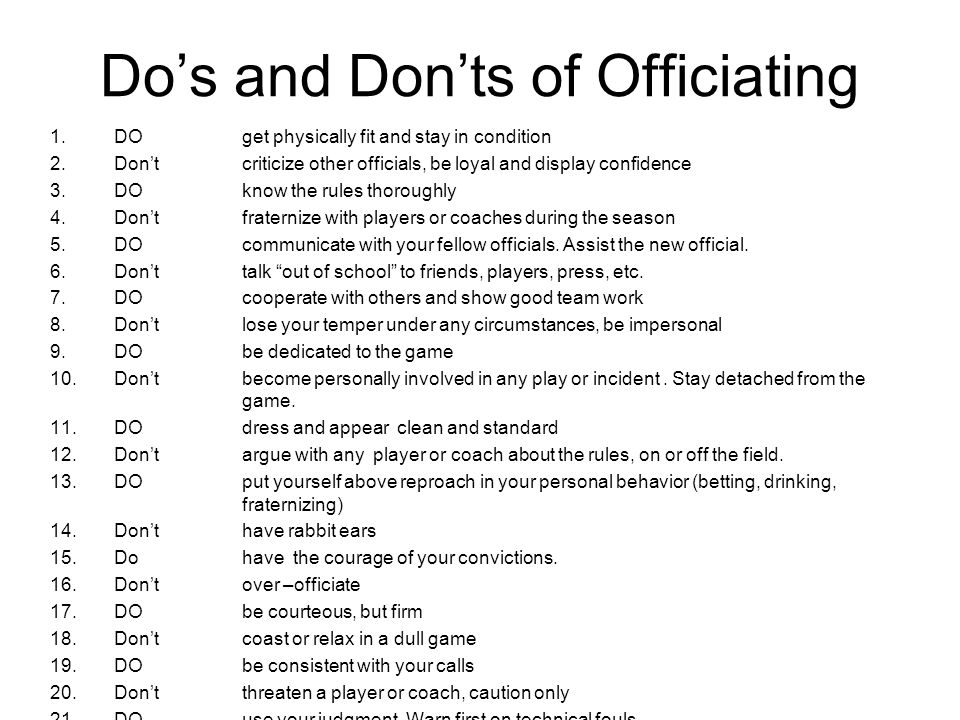 Do's and Don'ts of Officiating