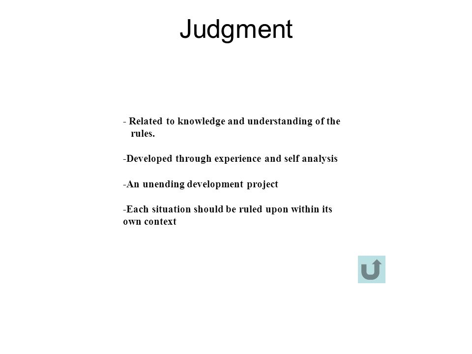 Judgment - Related to knowledge and understanding of the rules.