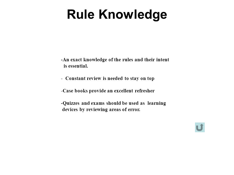 Rule Knowledge An exact knowledge of the rules and their intent