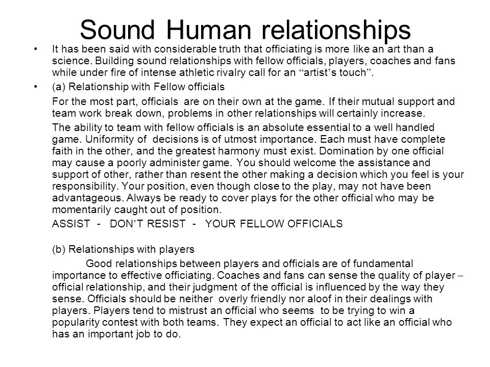 Sound Human relationships