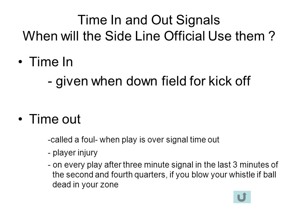 Time In and Out Signals When will the Side Line Official Use them