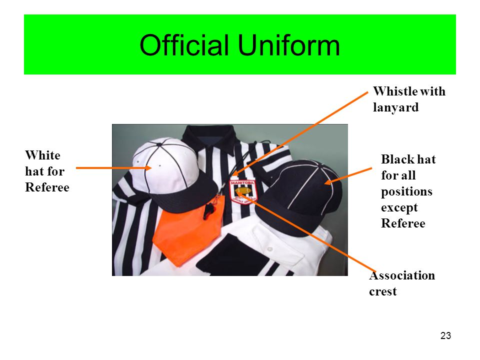 Official Uniform Whistle with lanyard White hat for Referee