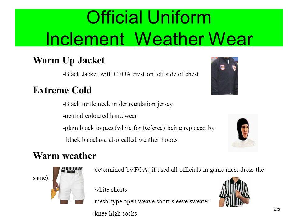 Official Uniform Inclement Weather Wear