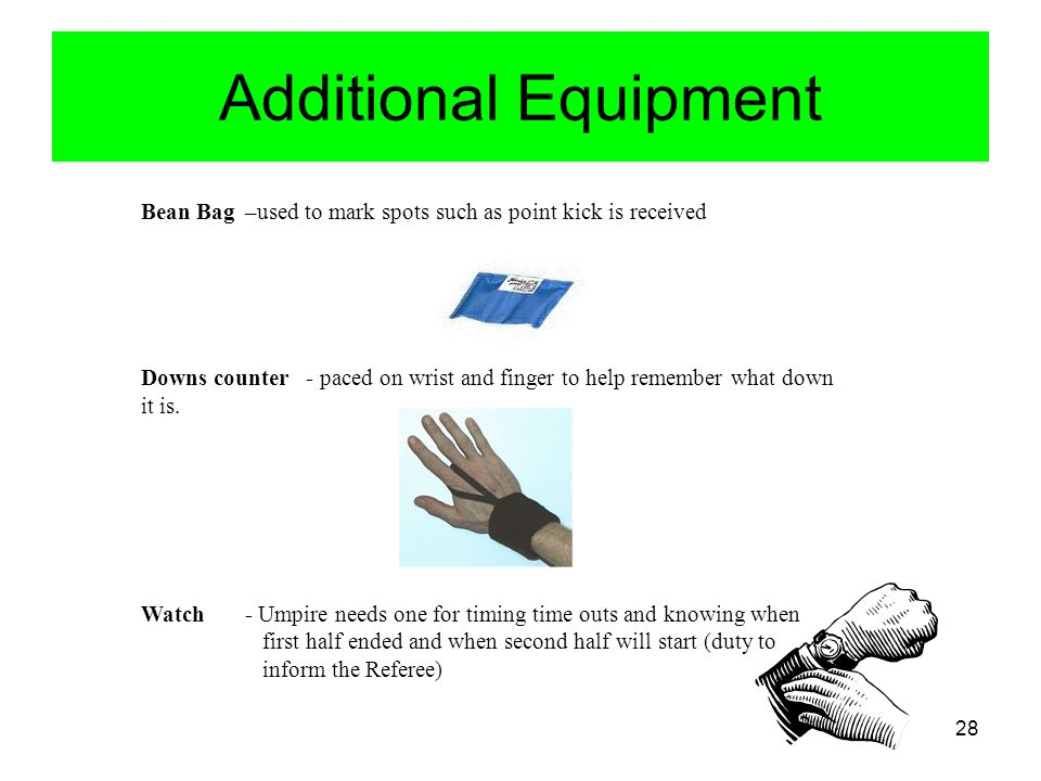 Additional Equipment Bean Bag –used to mark spots such as point kick is received.