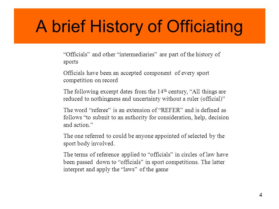 A brief History of Officiating