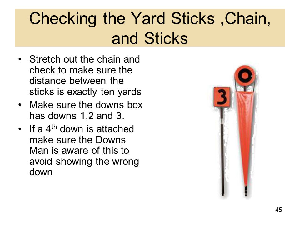 Checking the Yard Sticks ,Chain, and Sticks