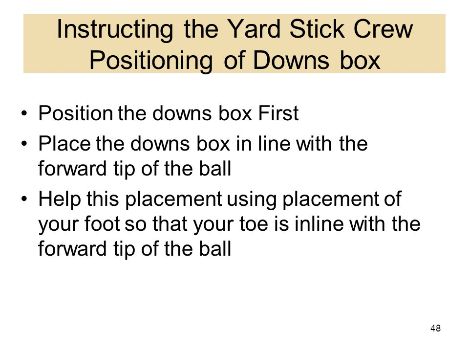 Instructing the Yard Stick Crew Positioning of Downs box