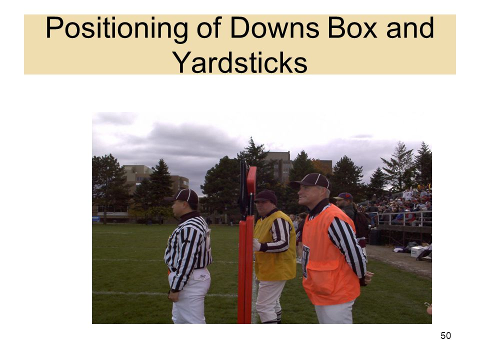 Positioning of Downs Box and Yardsticks