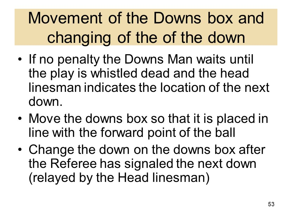 Movement of the Downs box and changing of the of the down