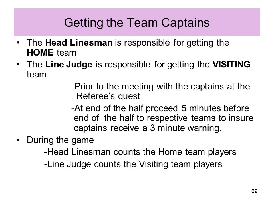 Getting the Team Captains