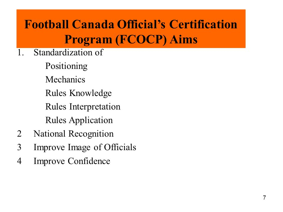 Football Canada Official's Certification Program (FCOCP) Aims
