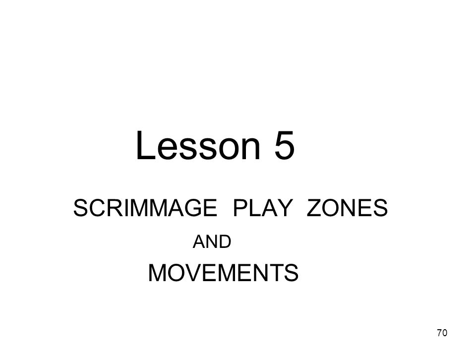 Lesson 5 SCRIMMAGE PLAY ZONES AND MOVEMENTS