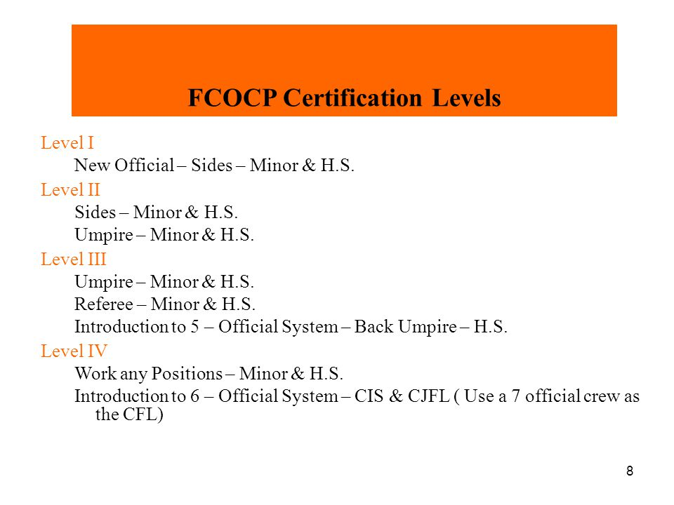 FCOCP Certification Levels