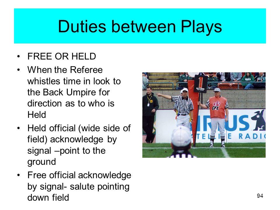 Duties between Plays FREE OR HELD