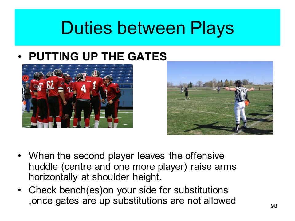 Duties between Plays PUTTING UP THE GATES
