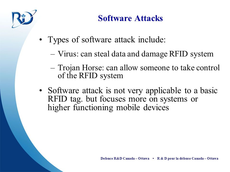 Types of software attack include: