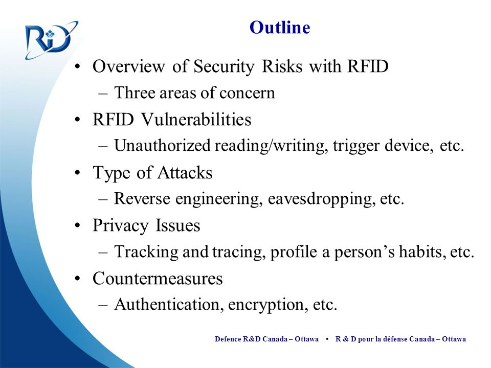 Overview of Security Risks with RFID RFID Vulnerabilities