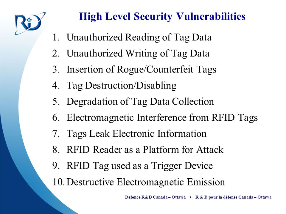 High Level Security Vulnerabilities