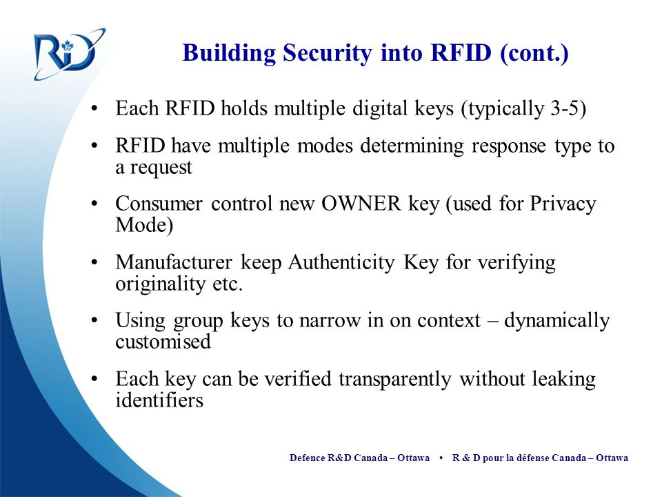Building Security into RFID (cont.)