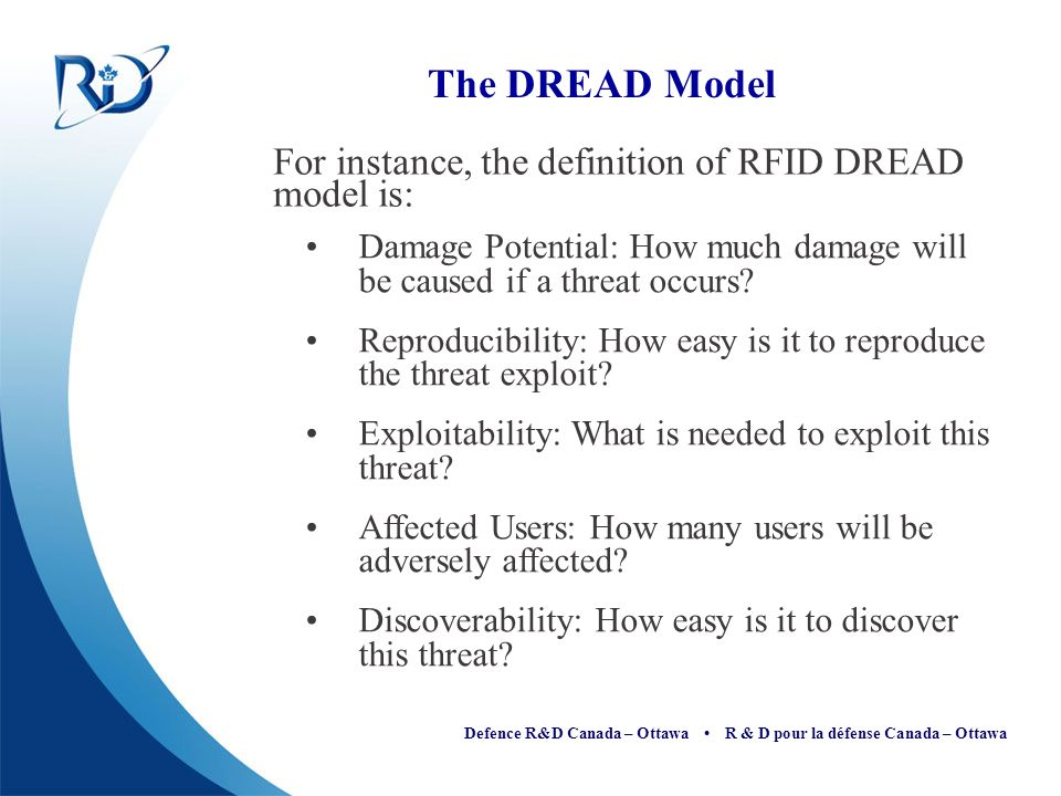 The DREAD Model For instance, the definition of RFID DREAD model is: