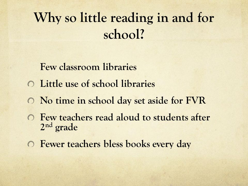 Why so little reading in and for school