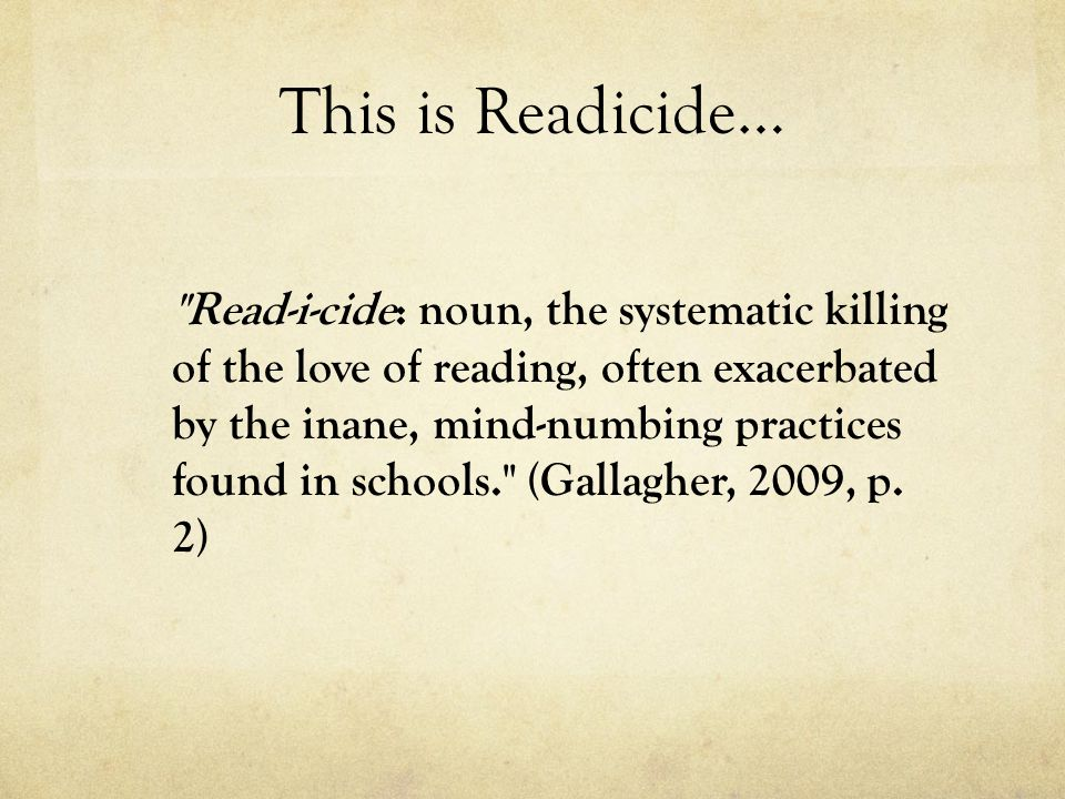 This is Readicide…