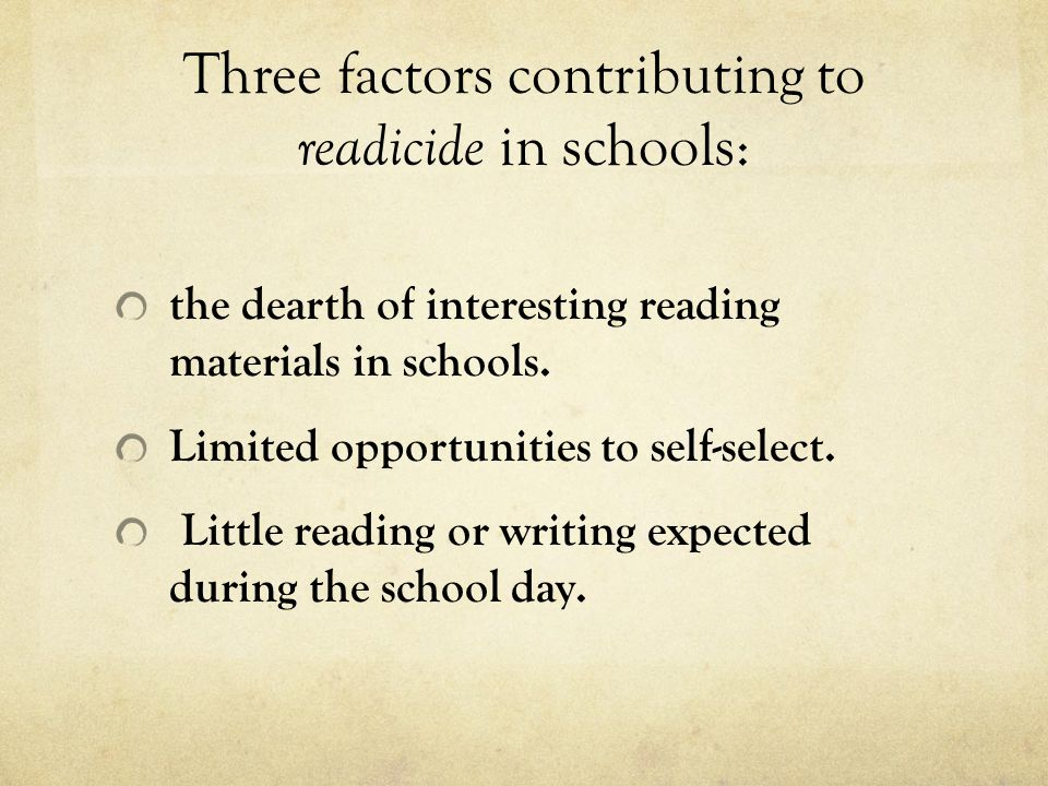Three factors contributing to readicide in schools: