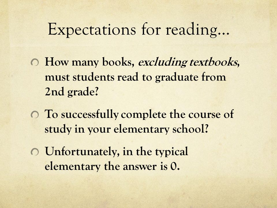 Expectations for reading…