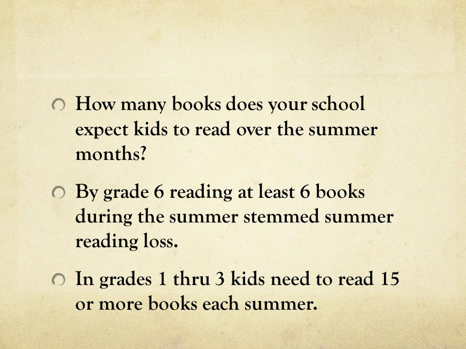 How many books does your school expect kids to read over the summer months