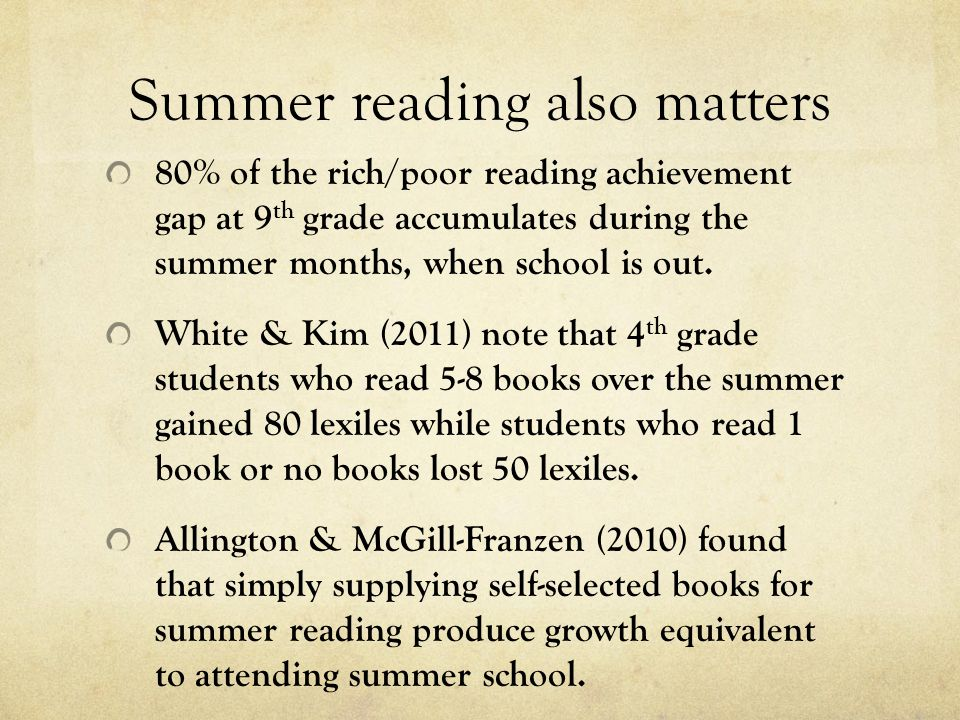 Summer reading also matters