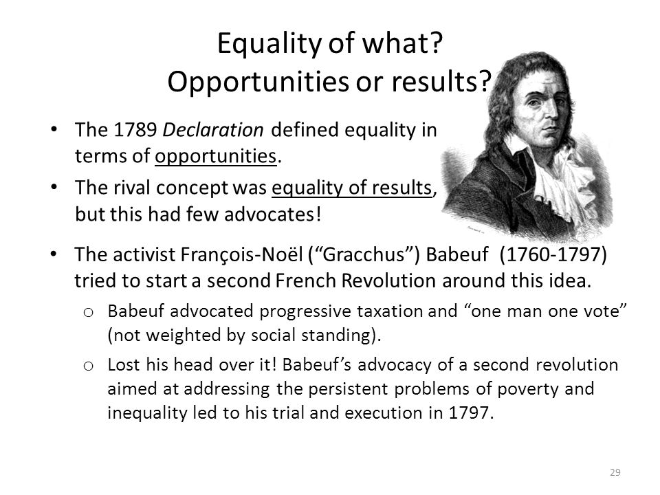 Equality of what Opportunities or results