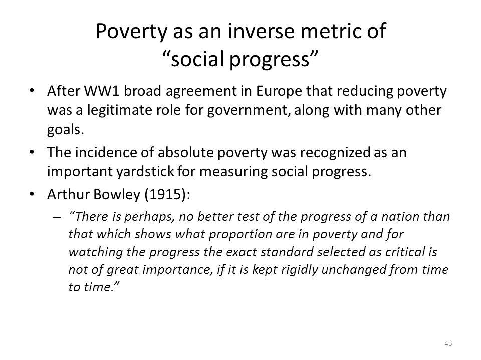 Poverty as an inverse metric of social progress