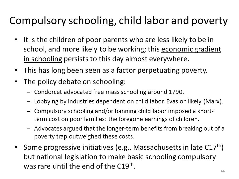 Compulsory schooling, child labor and poverty