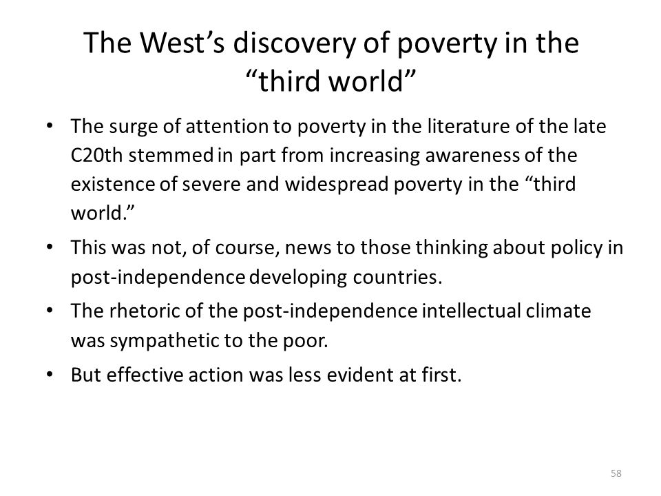 The West's discovery of poverty in the third world