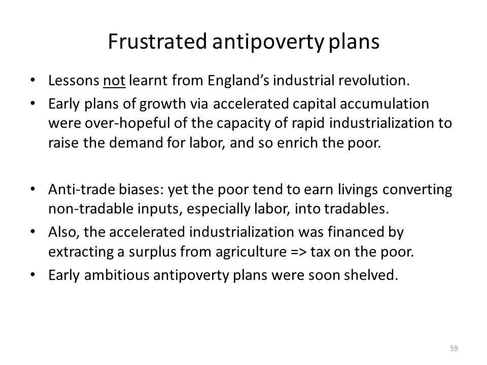 Frustrated antipoverty plans