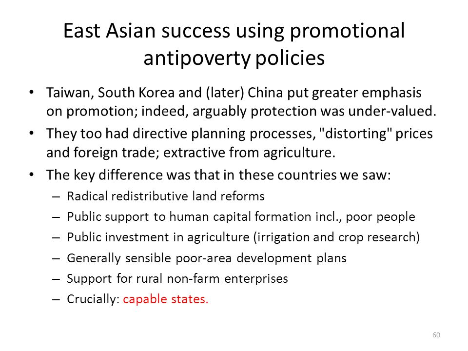 East Asian success using promotional antipoverty policies