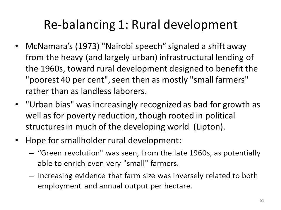 Re-balancing 1: Rural development