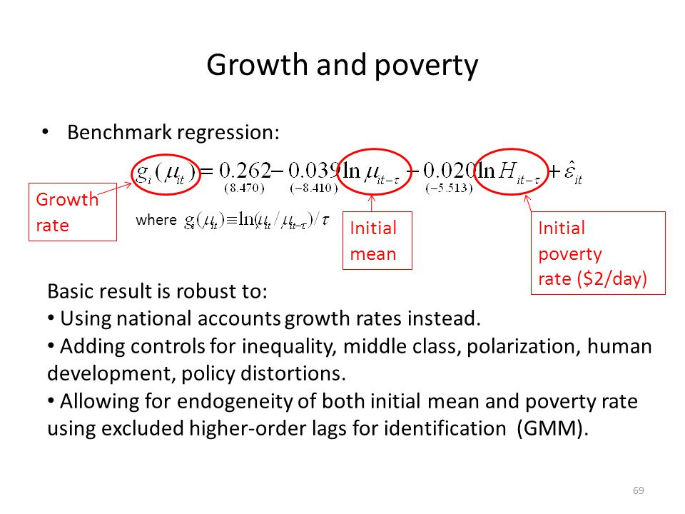 Growth and poverty Benchmark regression: Basic result is robust to: