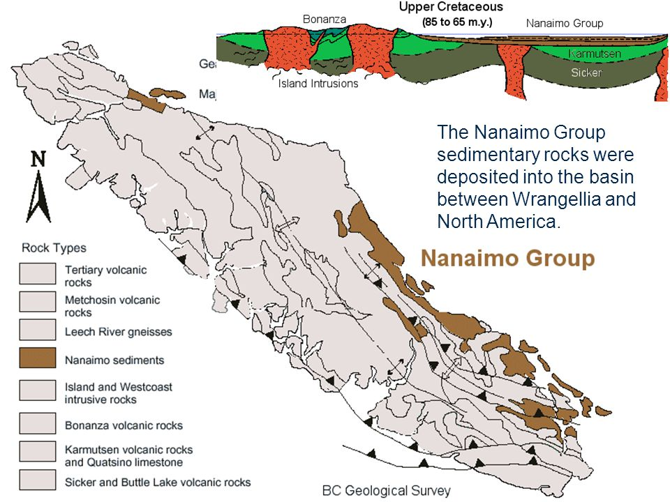 The Nanaimo Group sedimentary rocks were deposited into the basin between Wrangellia and North America.